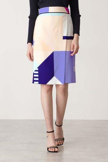 【先行予約 2月上旬-中旬入荷予定】カラーブロックプリントスカート