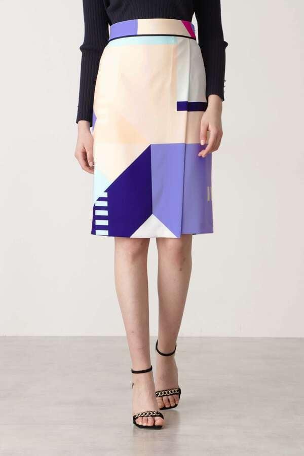 カラーブロックプリントスカート