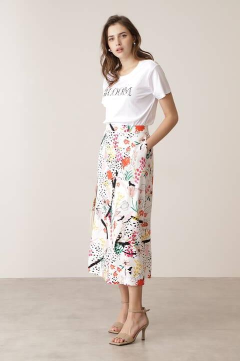 フェスティブフローラルプリントスカート
