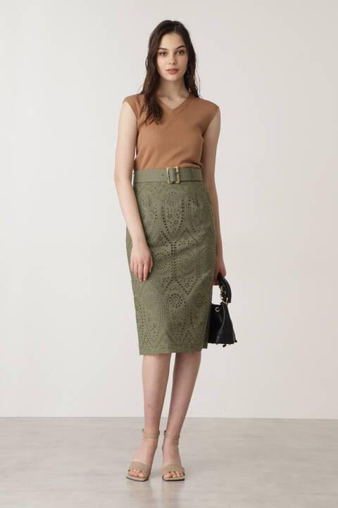 ベルト付きコットンレーススカート