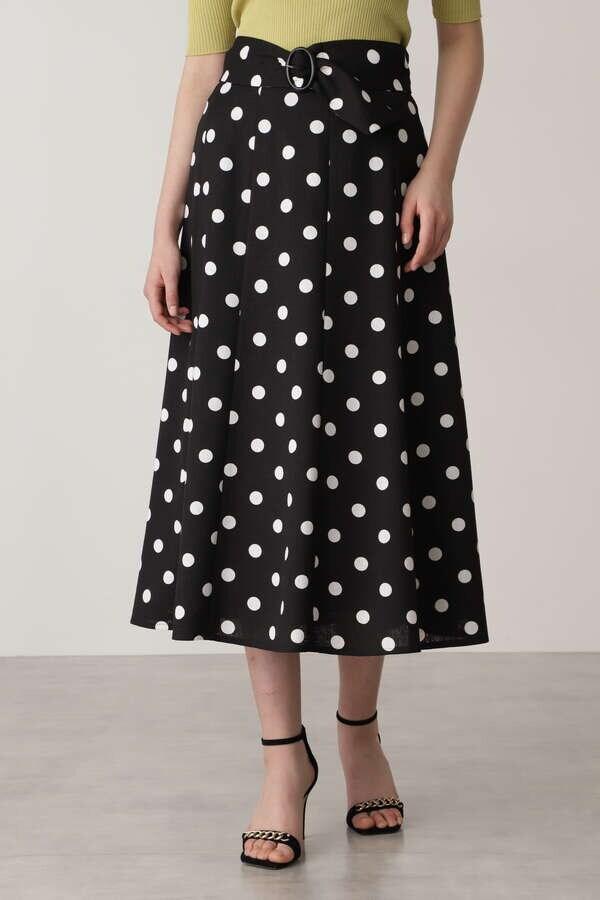 【先行予約 4月下旬-5月上旬入荷予定】ベルト付きドットプリントフレアスカート