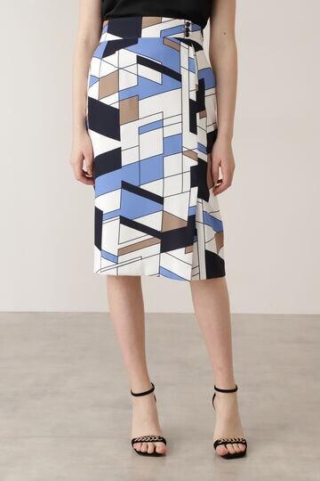 【先行予約 5月上旬-中旬入荷予定】カラーブロックプリント飾りボタン付きスカート
