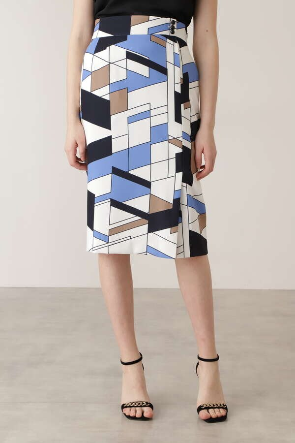 カラーブロックプリント飾りボタン付きスカート