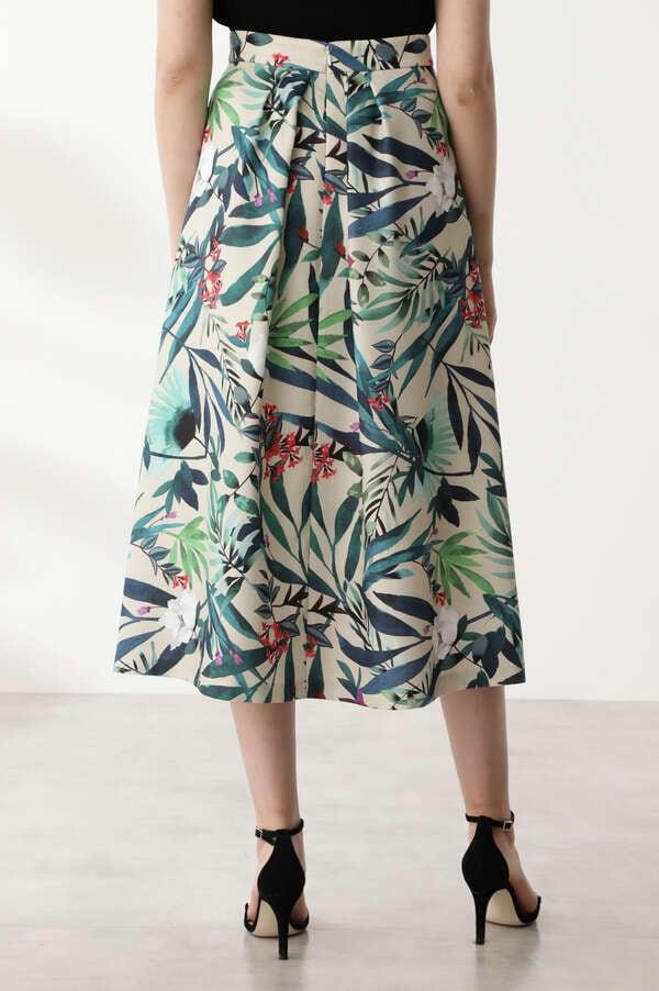 [WEB限定]ボタニカルリーフプリントフレアスカート