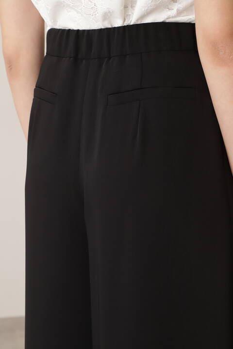 メタル合皮ベルト付きフレアワイドパンツ