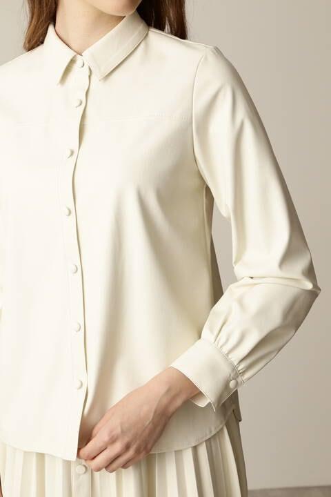 フェイクレザーシャツ