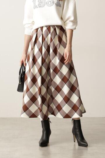 ブロックチェックタックフレアスカート