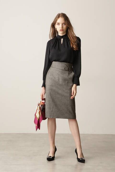 【先行予約 10月下旬-11月上旬入荷予定】ヘリンボーンタイトスカート