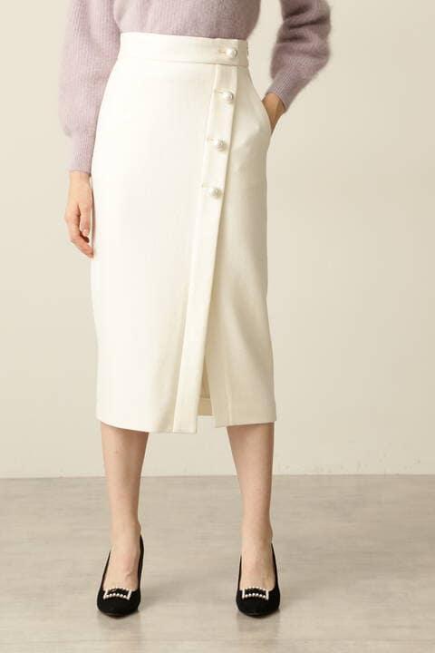 【先行予約 11月下旬-12月上旬入荷予定】パールボタンラップ風スカート