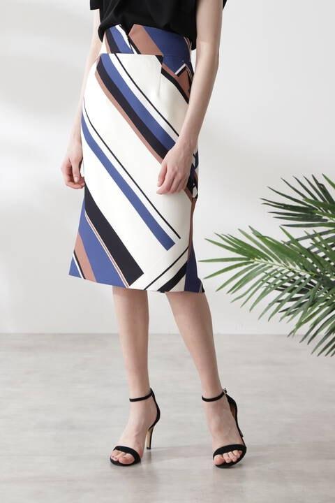 ジオメトリックプリントバックマーメイドスカート