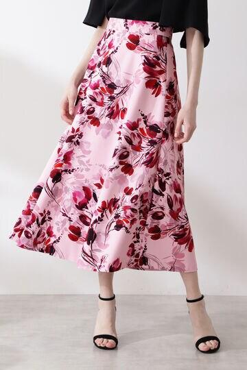 ブーケフラワープリントフレアスカート