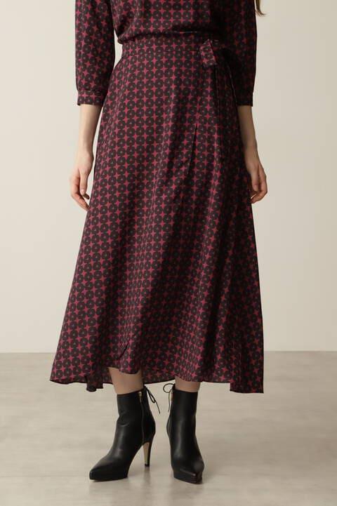[WEB限定]ジオメトリックプリントラップスカート