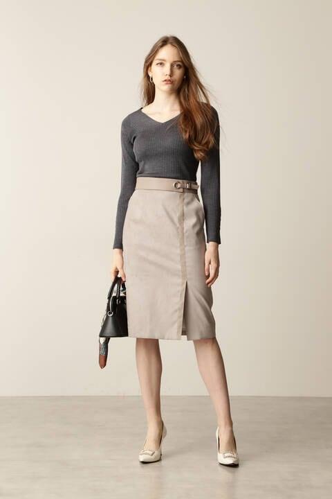フェイクスエードレザーコンビスカート