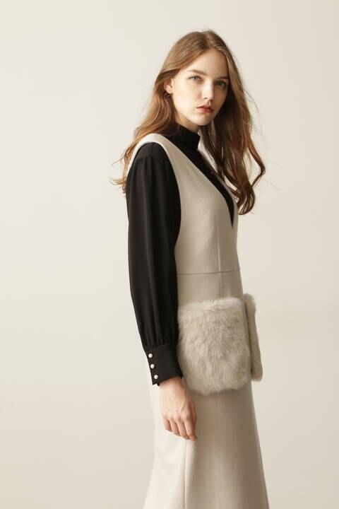 ファーポケットジャンパースカート