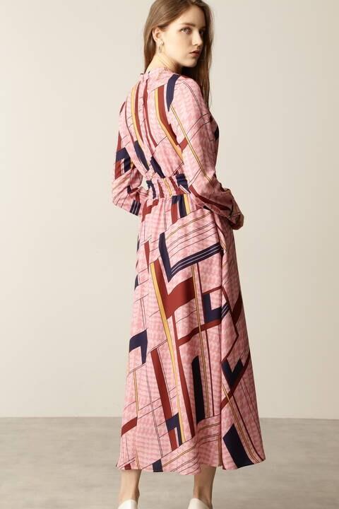 スカーフプリントロングワンピース