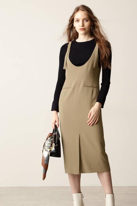 【先行予約 9月上旬-中旬入荷予定】Uネックジャンパースカート