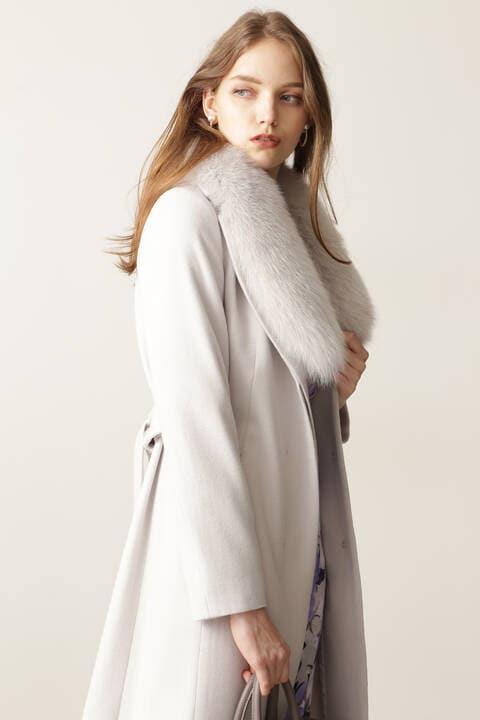 【先行予約 11月上旬-中旬入荷予定】カシミヤ混ベルテッドコート
