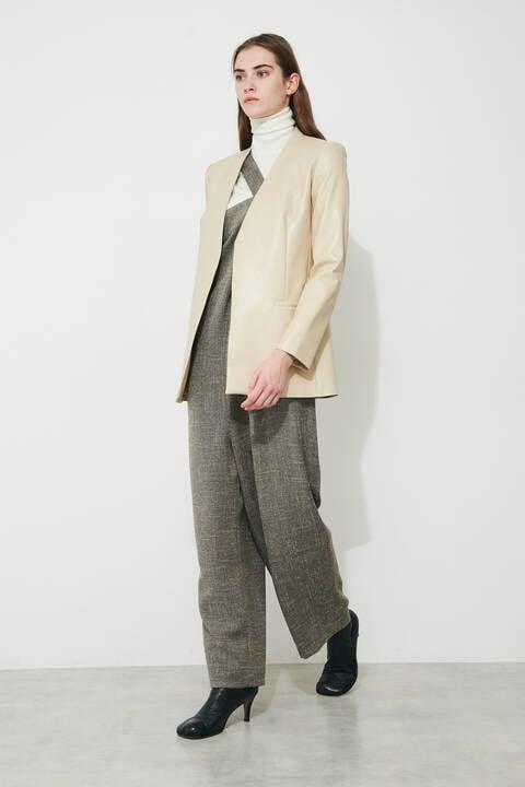 ノーカラーベルテッドジャケット