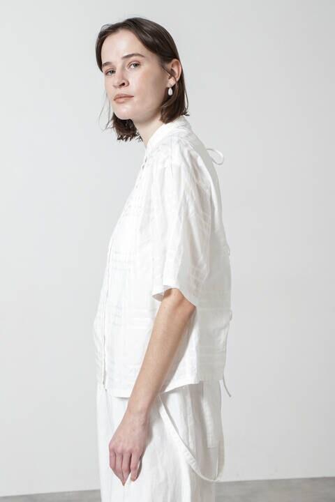 サテンチェックバックリボンシャツ