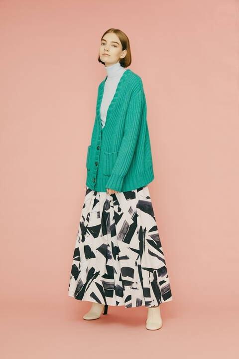 【先行予約 10月上旬-中旬入荷予定】ブラッシュプリントスカート