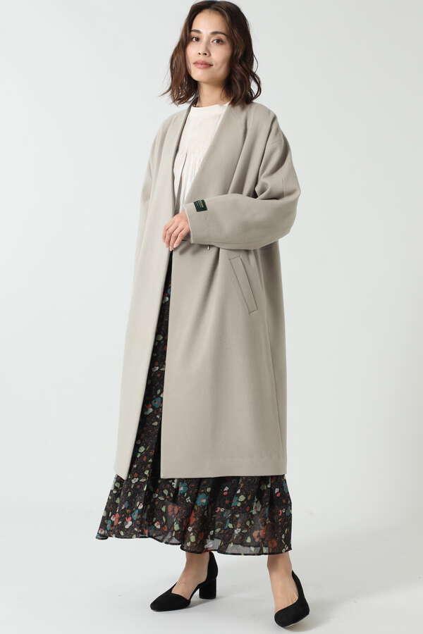 ノーカラーウールコート