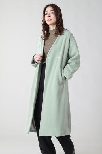 ベルト付きノーカラーウールコート
