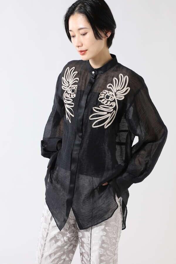 コード刺繍シアーブラウス