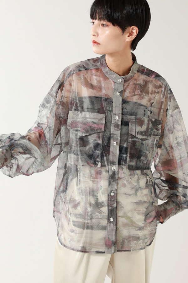 アートプリントシアーシャツ