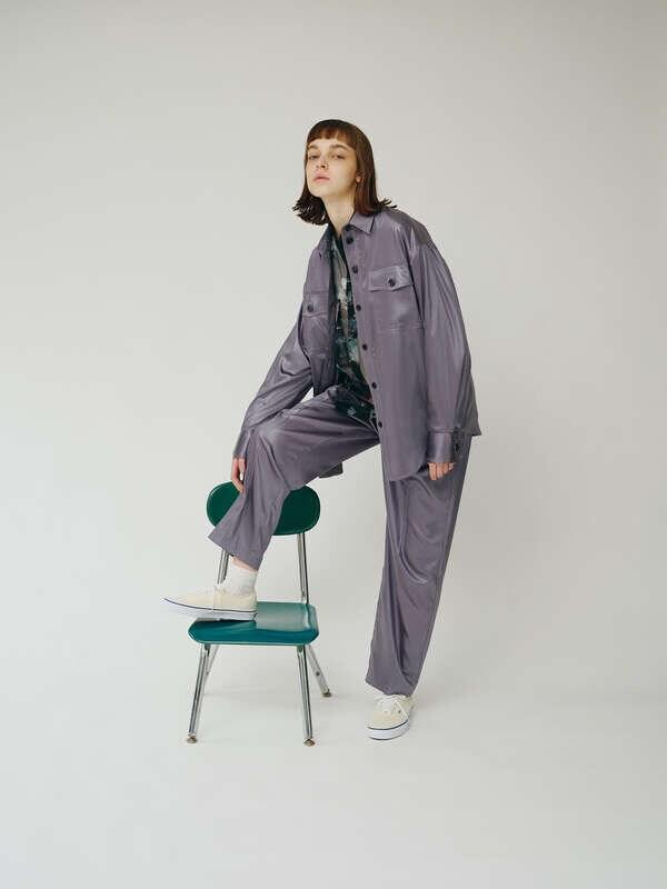 レザーライクサテンジャケット