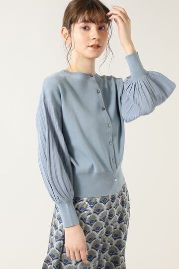 袖プリーツ風ニットカーデ