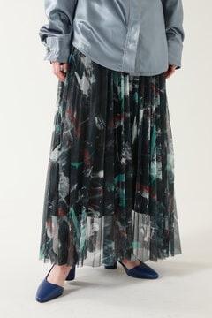 【先行予約 1月下旬-2月上旬入荷予定】アートプリントプリーツスカート
