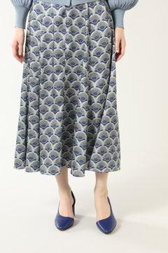 幾何学プリントロングスカート