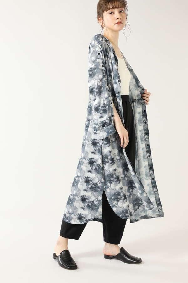 マーブルプリントシャツドレス