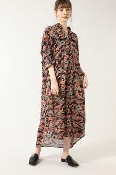 カモフラージュプリントシャツドレス