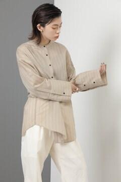 マオカラーストライプシャツ