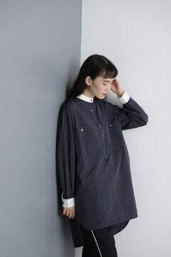 【先行予約 11月中旬-11月下旬入荷予定】パネルストライプバンドカラーチュニックシャツ