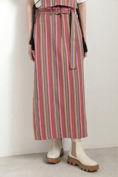 【先行予約 8月下旬-9月上旬入荷予定】マルチストライプストレートスカート