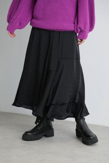 【先行予約 11月中旬-11月下旬入荷予定】イレギュラーヘムシャイニースカート
