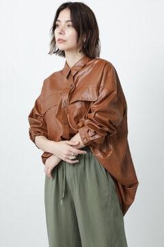 シャイニーワークポケットチュニックシャツドレス