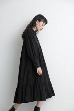 【先行予約 11月中旬-11月下旬入荷予定】コットンパネルボタンティアードヘムシャツドレス