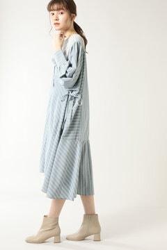 パネルレースヨークストライプシャツドレス