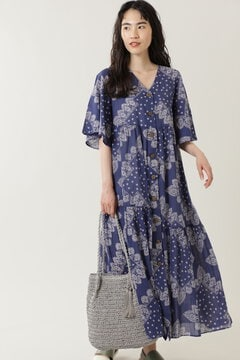 バンダナボタンフロントフレアスリーブドレス