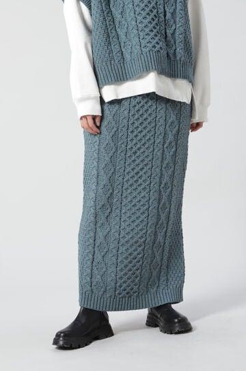 アラン編みロングタイトニットスカート