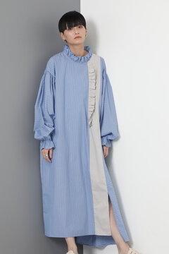 ストライプフリルドプルオーバードレス