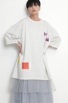 グラフィックプリントレイヤードハーフスリーブスウェットドレス
