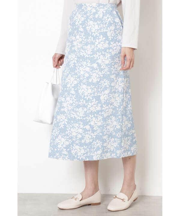 [洗える]バイカラーフラワースカート