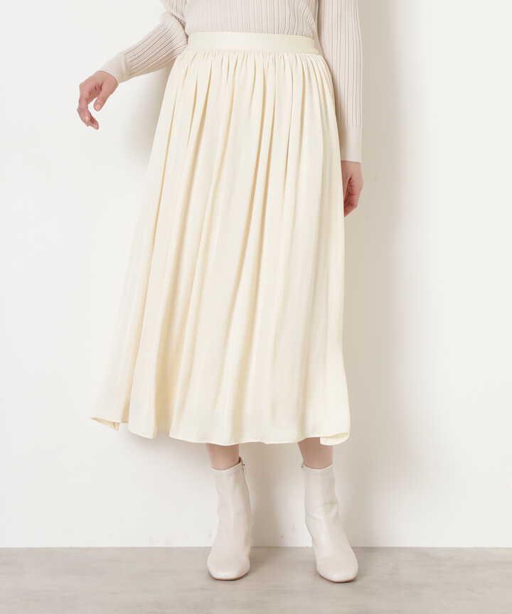 [洗える]ダブルサテンギャザースカート