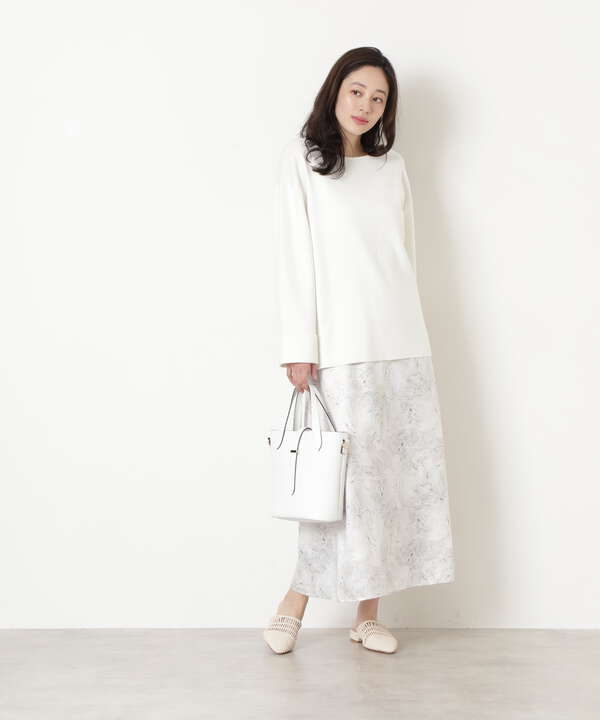 [洗える]マーブルプリントマーメイドスカート