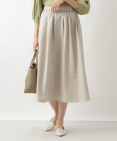 タフタギャザーフレアスカート