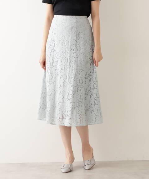 リネン混レースフレアスカート